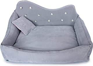 LinJiaJia_shop Luxury Dog Sofa Pink Gray Rhinestone Pet Bed Cover Mat Princess Cat Mats for Small Medium Puppy Animal Bedding Yorkshire