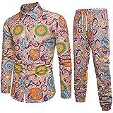 2020 Newest Leisure Suit Men's Premium Suit Spring Casual Tracksuits Slim Fit Long Sleeve Print Blouse+Joggers by-Leegor
