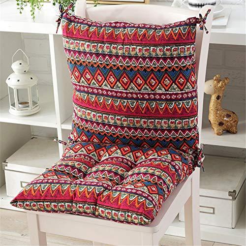 CULASIGN 1PC Niedriglehner Stuhlkissen mit Rückenteil Sitz und Rückenkissen mit Bänder Polsterauflage Gartenstuhl (7#,40x40x5cm)