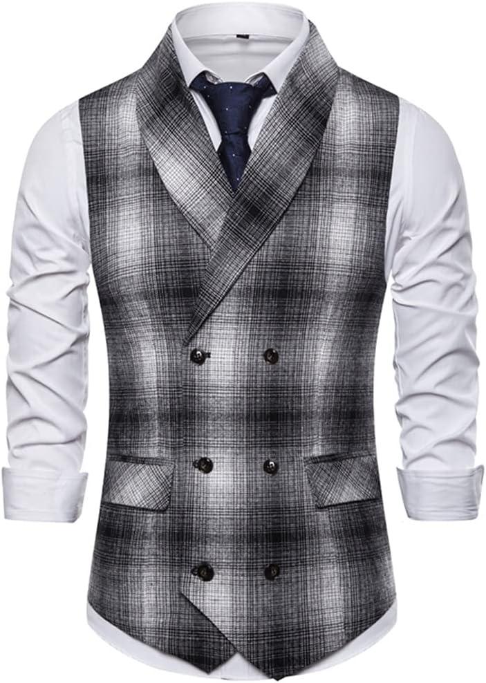 YFQHDD Formal Double Breasted Suit Vest Men Casual Stripe Plaid Waist Coat for Men Dress Vests Business Wedding (Color : B, Size : XXL code)