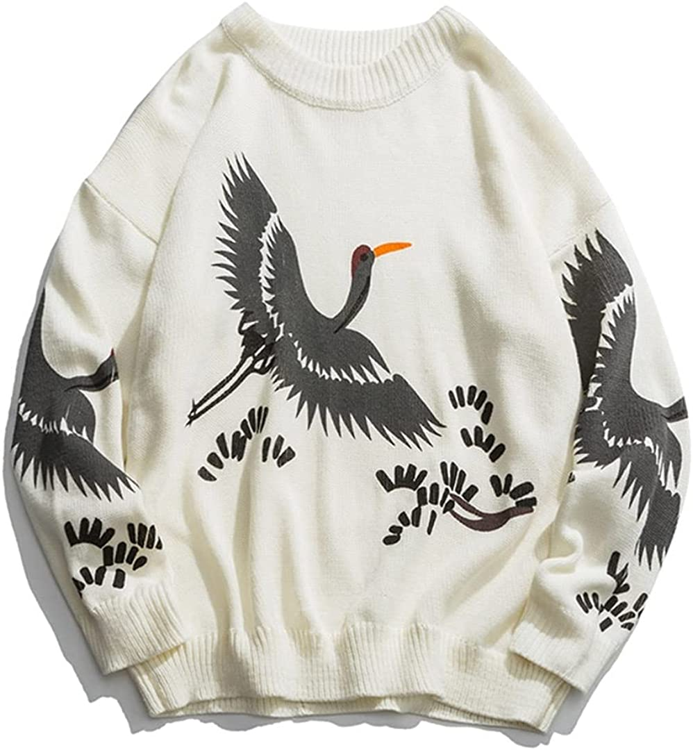 Crane Print Mens Sweater Knitted Top Pullover Men Clothing Spring