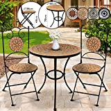 Mesa y Sillas Mosaico Set 1+2 - Redonda, Marrón/Negro, Cerámica - Mobiliario Mosaico, Set Muebles Jardín, Juego Terraza, Conjunto Balcón