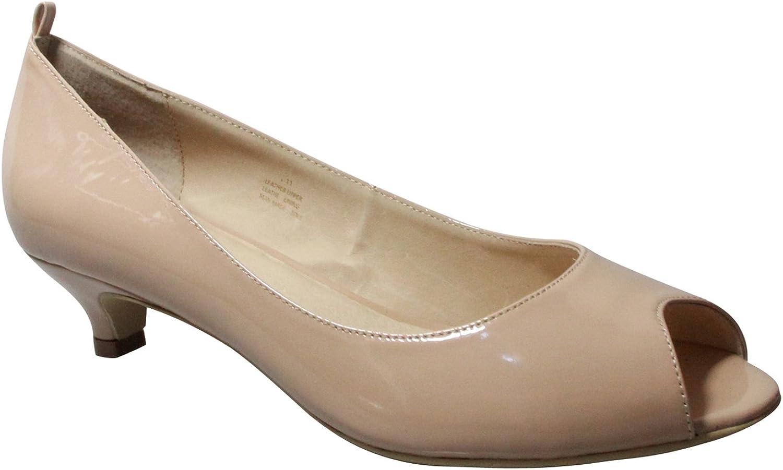 greenigo shoes Women's Karla Peep Toe Kitten Heel Leather Court shoes