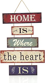 """16.8""""x12"""" MDF Wood Fun Decorative 5-Plate Welcome Hanging Plaque Sign (Home is Where The Heart is)"""