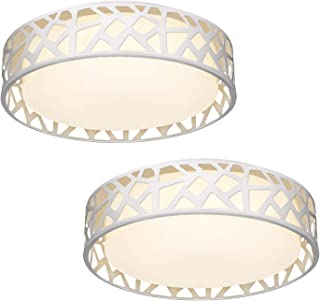 Light Fixtures Ceiling 2 Pack, VICNIE 12 inch 15W 1100 Lumens Flush Mount Lights, Dimmable 3000K Warm White, ETL Listed for Kitchen, Hallway, Bedroom, Stairways (Metal Body and Acrylic Shade)