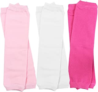 juDanzy 3 Pair Baby Girl Leg Warmers Solid Hot Pink, Solid White and Pink