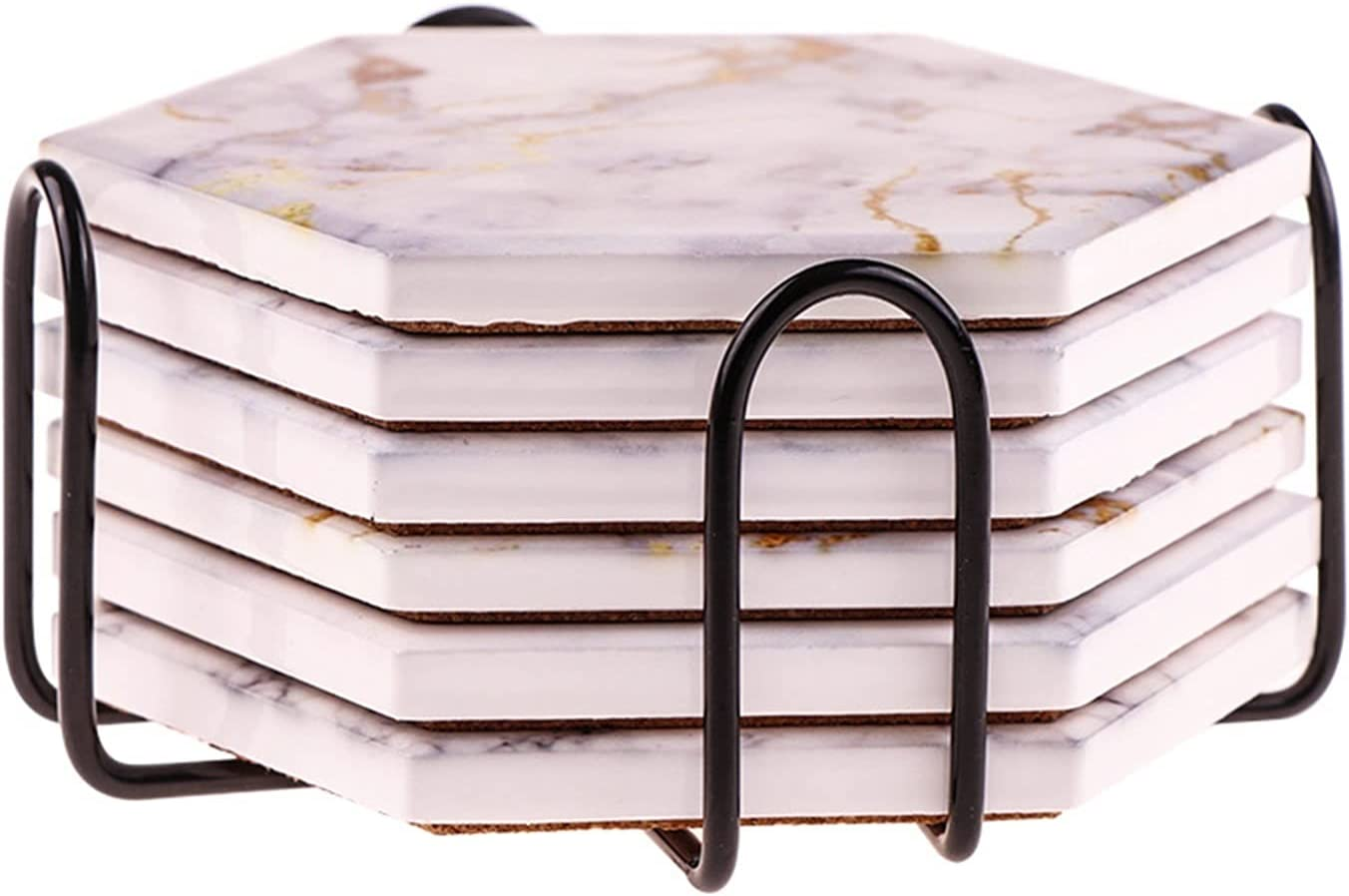 AFTWLKJ 6Pcs Max 43% OFF Coasters for gift Drinks Marble Absorbent De Holder with