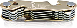 Compact Key Organizer by KEYTEC - Smart Key Holder with Multitools - Bottle Opener Phone Stand - Black Zinc Alloy Key Storage up to 12 Keys - Gift Box Package (Expansion kit & Hook Included) Gold
