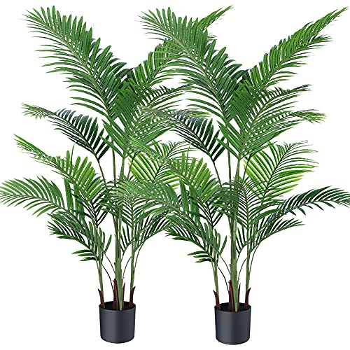 Ferrgoal Artificial Plants Fake Plant Areca Palm Tree Plant in Pot Fake Yellow Palm 5.2 Feet Faux Plants for Home Office Indoor Outdoor Modern Decor Housewarming Gift 2 Pack