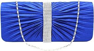 D DOLITY Women Elegant Crystal Satin Pleated Evening Party Wedding Purse Handbag Blue