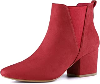 Women's Pointed Toe Block Heel Ankle Chelsea Boots