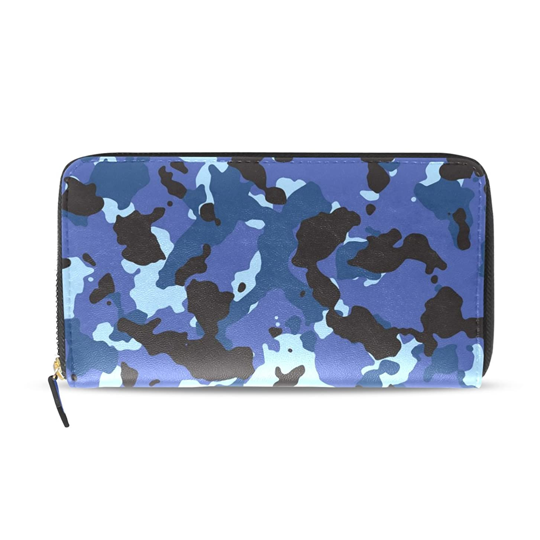 ペパーミント予防接種する言うUSAKI(ユサキ) レディース メンズ ファスナー 財布ネイビーブルー 青い 迷彩柄 お札 小銭 カード入れ 大容量 長財布 入学式 卒業式 誕生日 プレゼント クリスマスのプレゼント U37