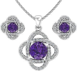 Belinda Jewelz Sterling Silver Love Knot Birthstone Earrings and Pendant Necklace Set