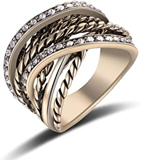 Mytys Vintage Fashion White Crystals Black Marcasites Stone Pave Statement Ring Interwined Cable Wire Band Chunky Rings Enhancers for Women Men Silver/Gold Plated