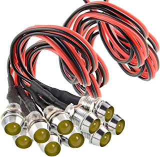 "Amotor 10Pcs 8mm 5/16"" LED Metal Indicator Light 12V Waterproof Signal Pilot Lamp Dash Directional Car Truck Boat with Wir..."