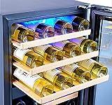 Kalamera Weinkühlschrank 2 Zonen für 45 Flaschen,120Liter,Kompressor,Temperaturzonen 5-10°C/10-18°C,Schwarz,KRC-120BFG - 6