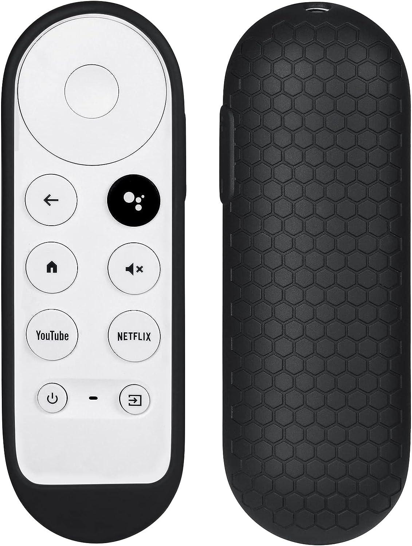 Silicone Case Compatible with Google TV 2020 Voice Remote - SYMOTOP Shockproof Protective Remote Cover Skin Compatible with Chromecast with Google TV 2020 Voice Remote Control - Black