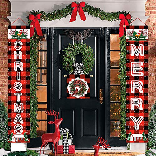 Coskaka 3-Pieces Merry Christmas Decor Welcome Wreath Door Hanging Banner For Front Door Farmhouse Snowflake Buffalo Red Black Check Plaid Vertical Porch Sign Yard Outdoor Rustic Decoration