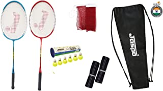 Jaspo GT 303 Pro Red/Blue Badminton Set(2 Badminton Racket and 5 Nylon Shuttle Cork,1 Carry Bag,1 Grip,1 Badminton net)