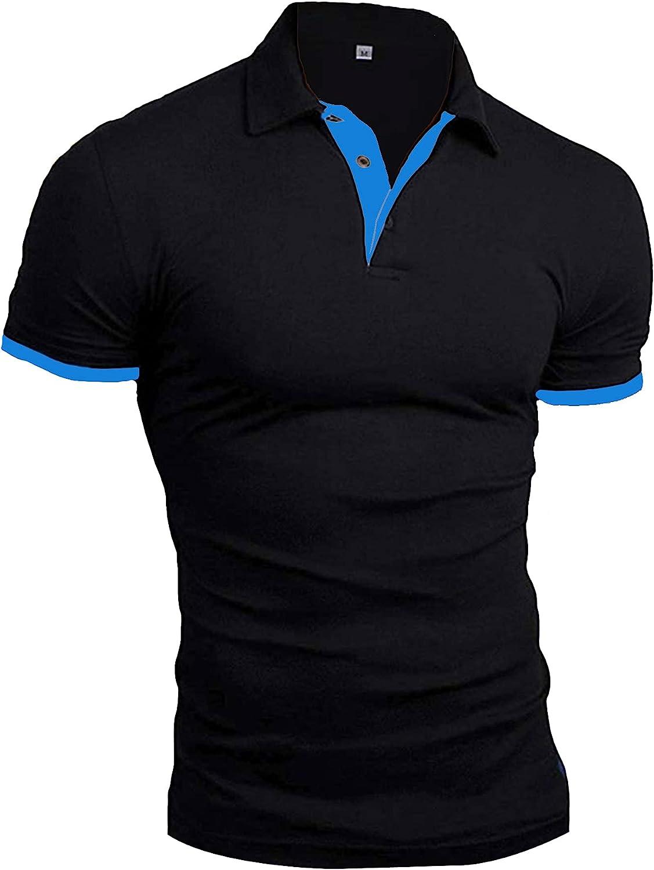 Los Angeles Mall TUVEKE Polo Max 84% OFF Shirts for Men Shirt Golf Slim Color Solid