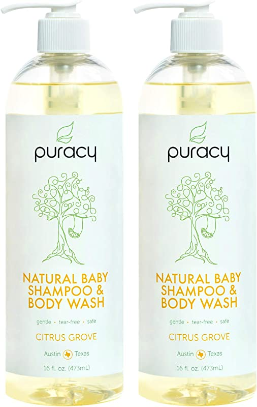 Puracy Natural Baby Shampoo Body Wash Tear Free Soap Sulfate Free 16 Ounce 2 Pack