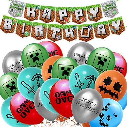 Sinwind Articoli per feste a tema di gioco, articoli per feste per videogiochi, decorazioni per feste a tema minatore gamer con palloncini, banner di buon compleanno per bambini (A)