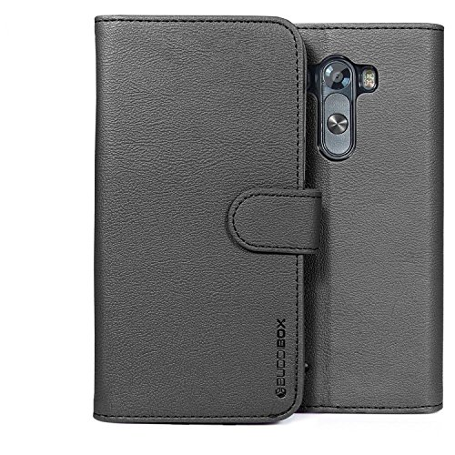 LG G3 Case, BUDDIBOX [Wallet Case] Premium PU Leather Wallet Case with [Kickstand] Card Holder and ID Slot for LG G3, (Black)