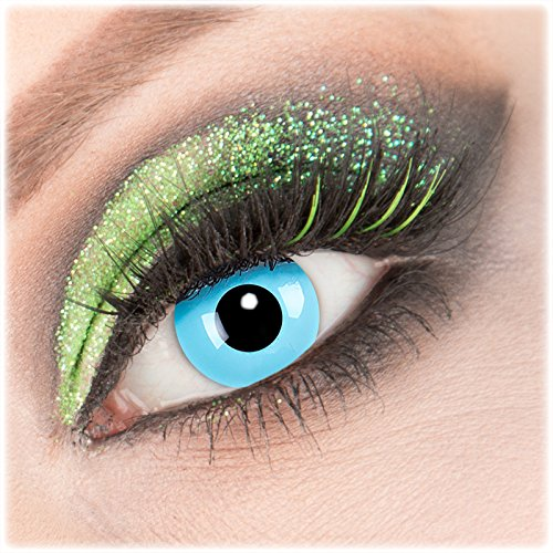 Farbige blaue 'Sky Angel' Kontaktlinsen 1 Paar Crazy Fun Kontaktlinsen mit Behälter zu Fasching Karneval Halloween - Topqualität von 'Giftauge' ohne Stärke