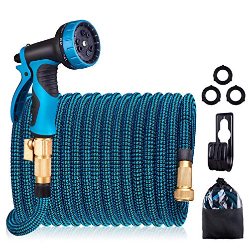 HULOSAN Expandable Garden Hose, Water Hose with 9 Function Spray Nozzle, No Kink Leakproof Lightweight Garden Hose with 3/4' Brass Fittings and Extra Strength 3750D Fabric for Watering & Washing 100ft