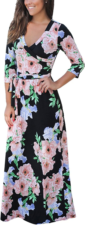 Akivide Women's Floral Printed Dresses Wrap V Neck Tie Waist Long Maxi Dress