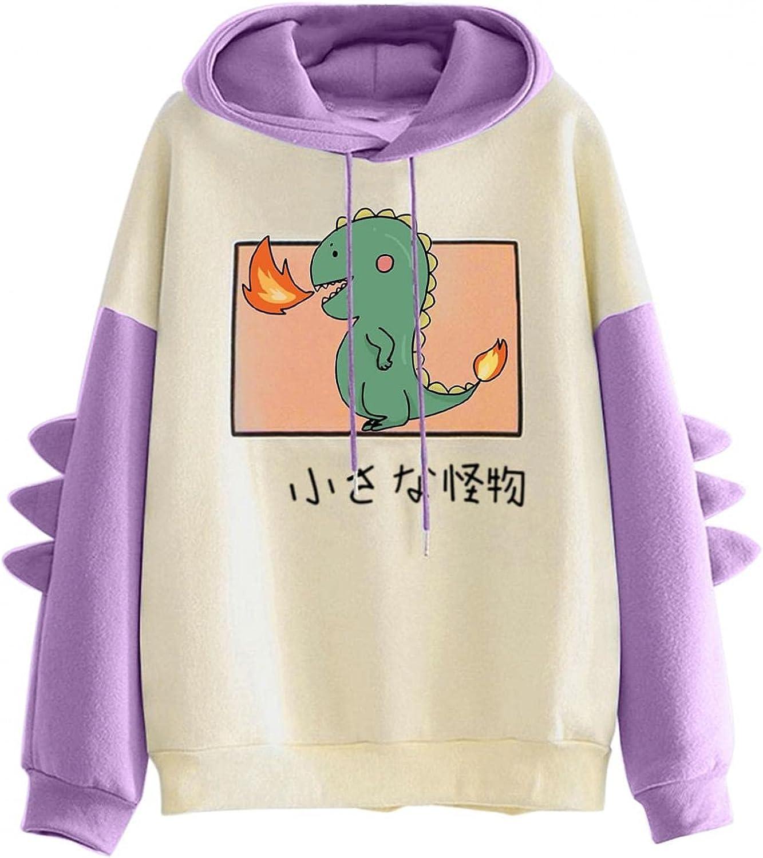 ONHUON Sweatshirts for Women, Womens Girls Dinosaur Colorblock Printed Long Sleeve Hoodies Sweatshirt Casual Blouse Tops