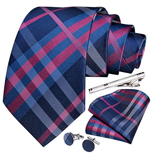 DiBanGu - Juego de gemelos y alfiler de corbata con diseño de rayas a cuadros, caja de regalo formal para bodas y negocios Tartán fucsia y azul marino. 85