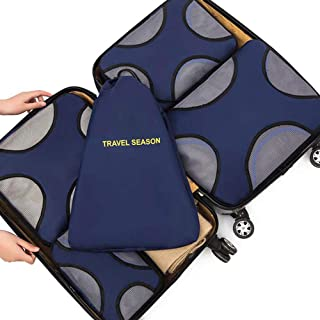 Belsmi 5 Set Packing Cubes - Waterproof Travel Luggage Organizer with Laundry Bag (5pcs Navy Blue)