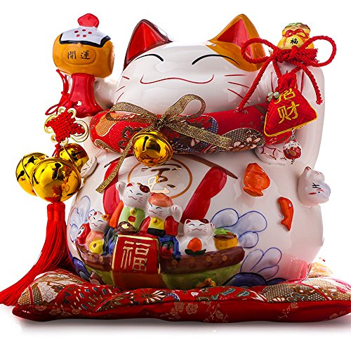 Large Size Ceramic Thriving Business Maneki Neko Lucky...