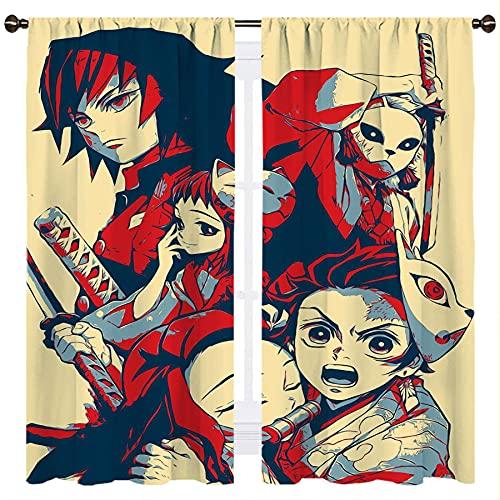 Anime Demon Slayer Kimetsu No Yaiba Carácter Amarillo Fondo Habitación Oscurecimiento Ventana Cortinas Tratamiento Sala W132xL160cm