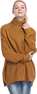 MYSHOW Womens Casual Turtleneck Long Sleeve Chunky Knit Pullover Sweater Dress-Yellow-XL