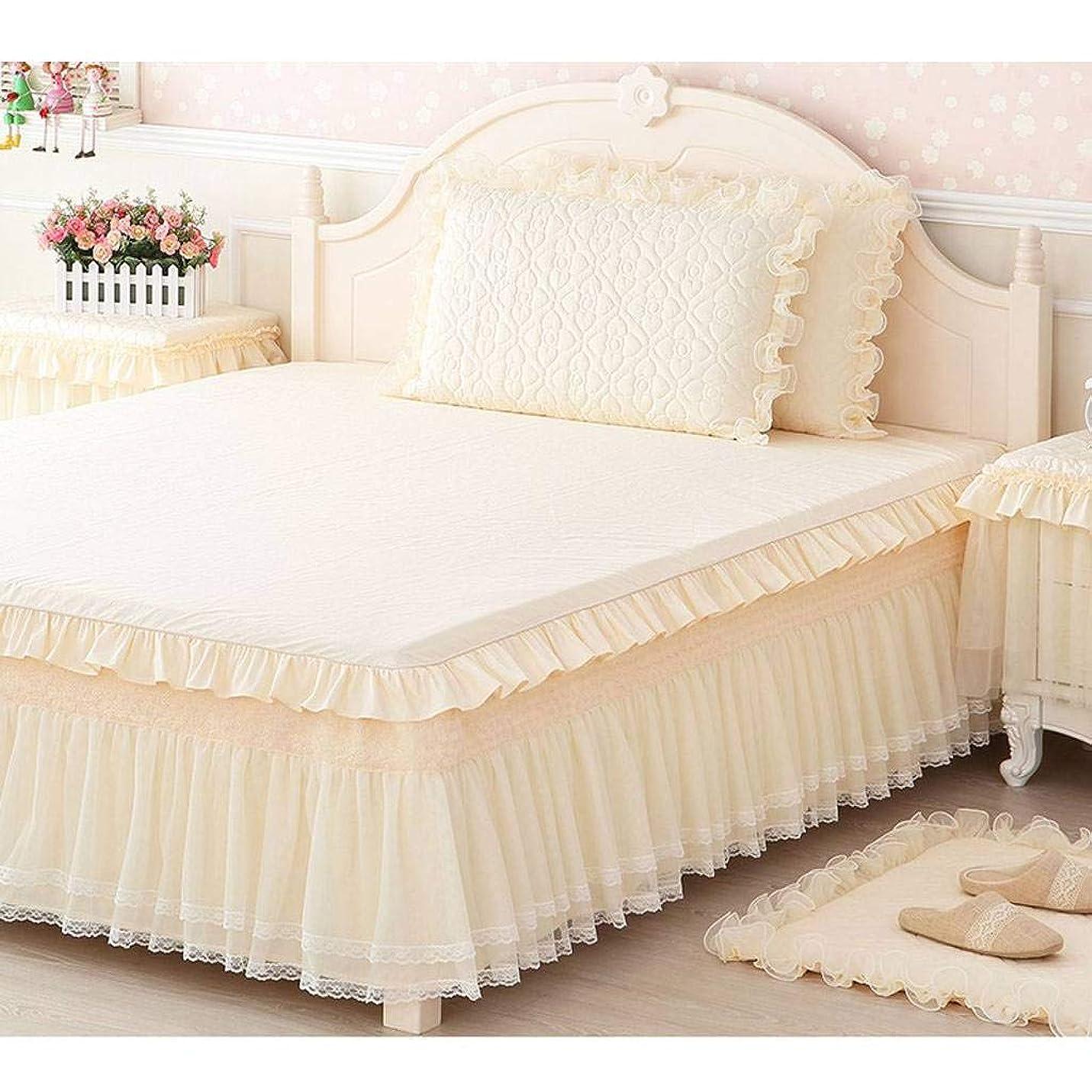 ネクタイ絡まる許さないQXJR ベッドカバー,ベッドスカート,綿,レース製,単色,シワ,フリル,ラップアラウンドスタイル,寝具-キルティング-200×220Cm(シングルベッドスカート)