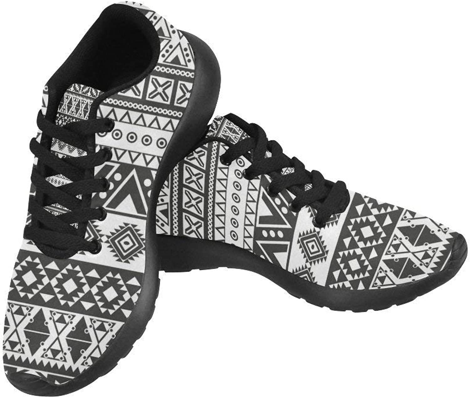 InterestPrint Tribal Aztec Black and White Pattern Print On Women's Running shoes Casual Lightweight Athletic Sneakers US Size 6-15