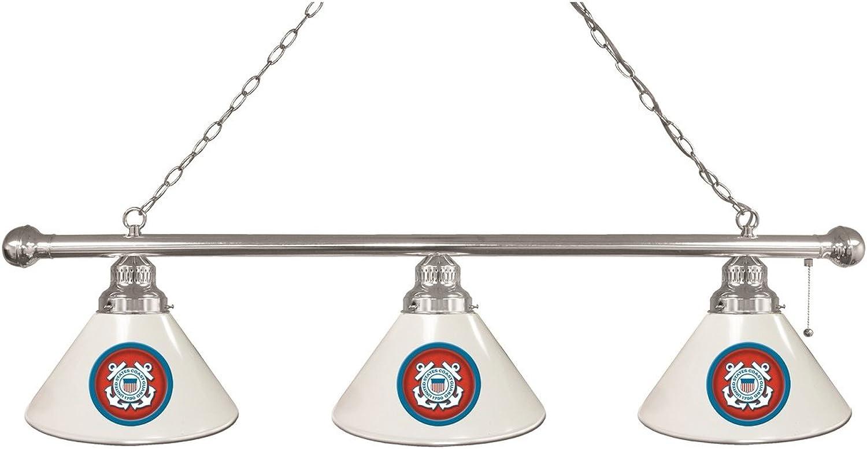 U.S. Coast Guard 3 Shade Billiard Light with Chrome Fixture