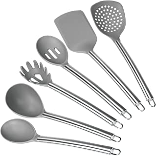 mDesign Juego de 6 utensilios de acero y nailon – Juego de espátula de cocina, cuchara, cucharones, espumadera y cuchara para pasta – Accesorios para cocinar con agujero para colgar – gris y plateado