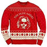 The Big Lebowski The Dude Abides Ugly Christmas Sweater (X-Large) Red