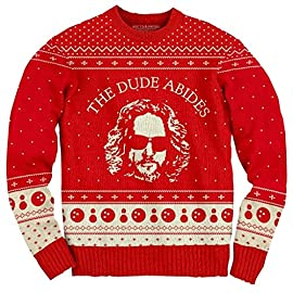 The Big Lebowski The Dude Abides Ugly Christmas Sweater 8 60% Cotton / 40% Acrylic Red Standard Adult Fit