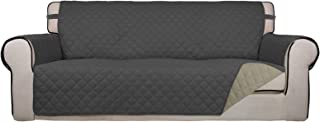 Best PureFit Reversible Quilted Sofa Cover, Water Resistant Slipcover Furniture Protector, Washable Couch Cover with Non Slip Foam and Elastic Straps for Kids, Dogs, Pets (Sofa, Dark Gray/Beige) Review