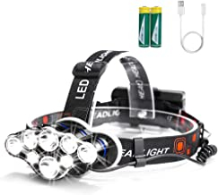 Arzopa Linterna Frontal Recargable LED, 13000 Lúmenes Luz Frontal Cabeza Impermeable Super Brillante con 8 LEDs y 8 Modos para Casco, Pesca,Senderismo, Bicicleta, Camping y Caza