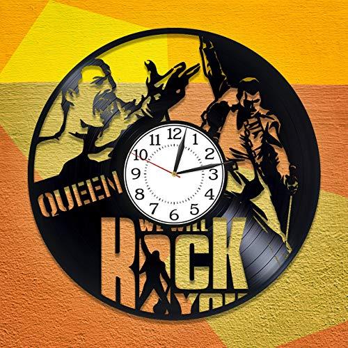 F FANTASY 'ART Queen Vinyl Clock Rock Music Band Birthday Gift Idea Freddie Mercury Vinyl Record Orologio da Parete Musica Orologio Fatto a Mano per Uomo e Donna Queen Original Home Decor