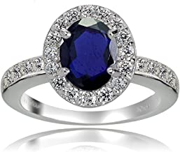 Ice Gems Sterling Silver Created Blue Sapphire and White Topaz Oval Halo Ring