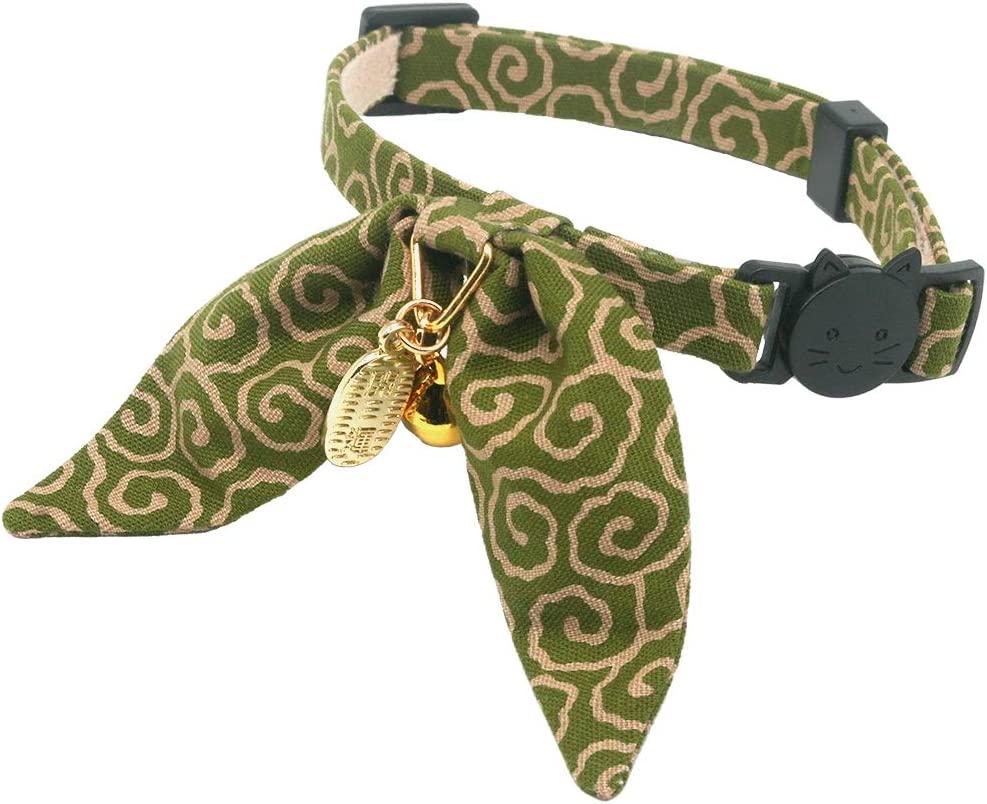 Safety Breakaway PetSoKoo Unique Bunny Ears Bowtie Cat Collar Japan Traditional Lucky Charm Ancient Arabesque Print Soft Durable Light Weight
