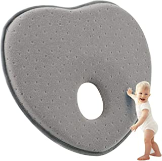 Amboch Newborn Baby Head Shaping Pillow(0-12months)- Baby Pillow for Flat Head Syndrome Prevention - 3D Memory Foam Support Head & Neck Pillow (Dark Gray)