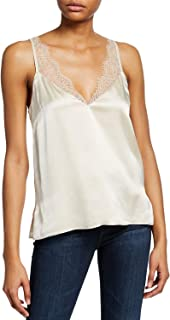 Cami NYC Women's The Arianna V-Neck Silk Cami with Lace Trim, Oat, Small