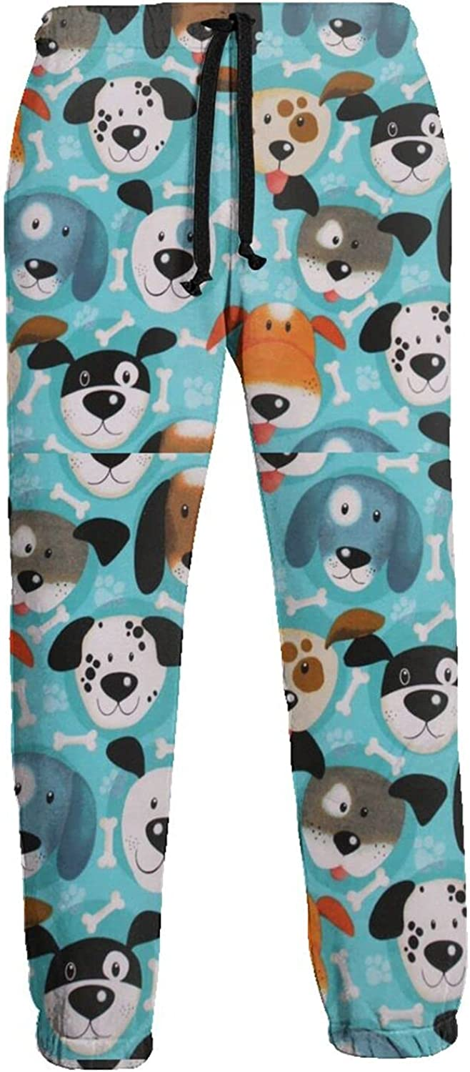 KAWAHATA Dogs Faces Allover Men's Pants with Pockets Tapered Athletic Sweatpants 3D Casual Active Sports Pants